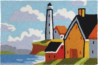 Jellybean Lighthouse Bluff Coastal Decor 21 x 33 in Washable Accent Rug