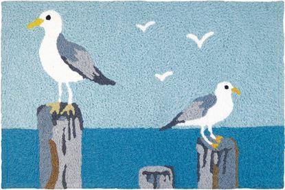 Jellybean Perched Gulls Coastal Decor 21 x 33 in Washable Accent Rug