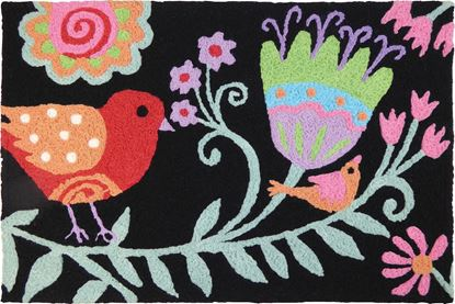 Jellybean Red Bird FLORAL Decor 21 x 33 in Washable Accent Rug