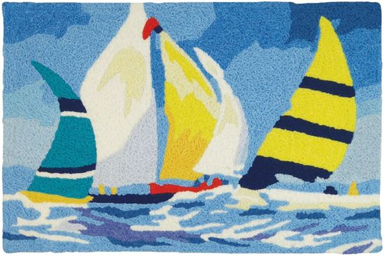 Jellybean Sailing Regatta Coastal Decor 21 x 33 in Washable Accent Rug