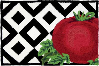 Jellybean Tomato On Tile Kitchen Decor 21 x 33 in Washable Accent Rug