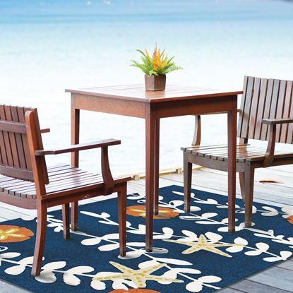 "Jellybean Home & Garden  Sea Vines With Sand Dollars 58"" X 78"" Indoor Outdoor Coastal  Area Rug"