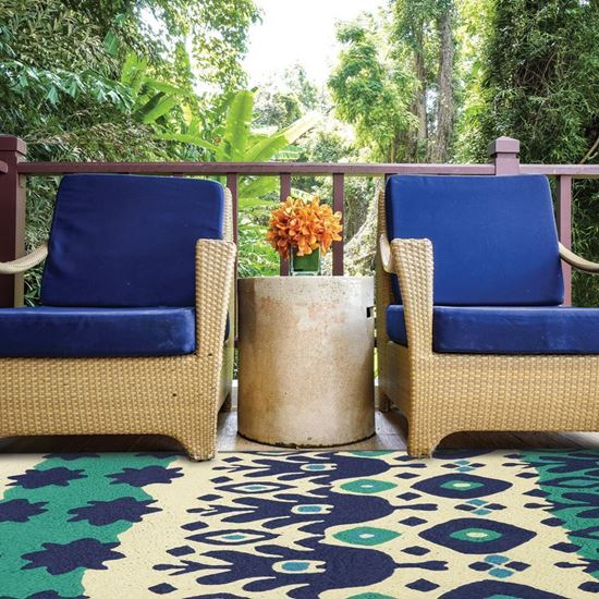 """Picture of Blue & Green Ikat - 58"""" X 78"""""""