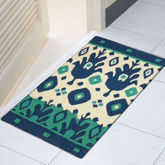 """Picture of Blue & Green Ikat - 21"""" X 33"""""""